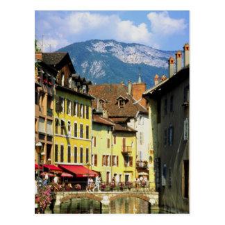 Annecy y montañas en verano, Saboya, Francia Tarjeta Postal