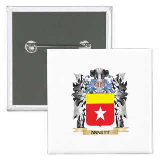 Annett Coat of Arms - Family Crest 2 Inch Square Button