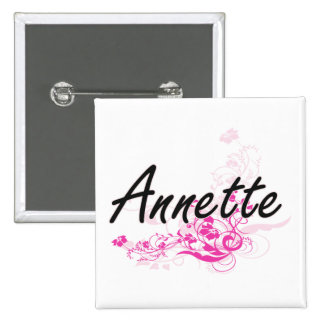 Annette Artistic Name Design with Flowers 2 Inch Square Button