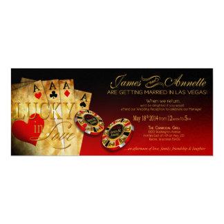"Annette CHAMPAGNE METALLIC Las Vegas Wedding 4"" X 9.25"" Invitation Card"