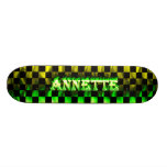 Annette green fire Skatersollie skateboard.