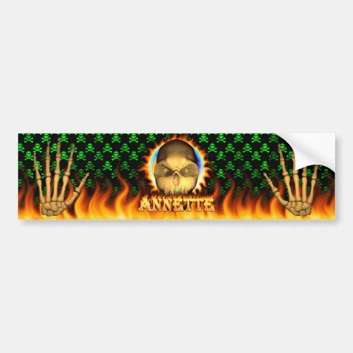 Annette skull real fire and flames bumper sticker. car bumper sticker