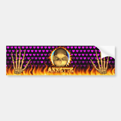 Annette skull real fire and flames bumper sticker.