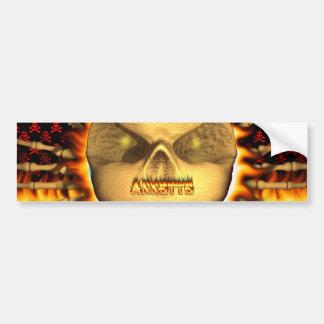 Annette skull real fire and flames bumper sticker. bumper sticker