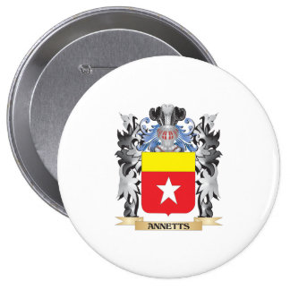 Annetts Coat of Arms - Family Crest 4 Inch Round Button