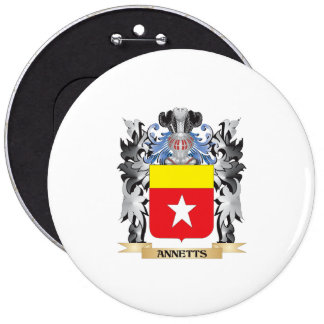 Annetts Coat of Arms - Family Crest 6 Inch Round Button