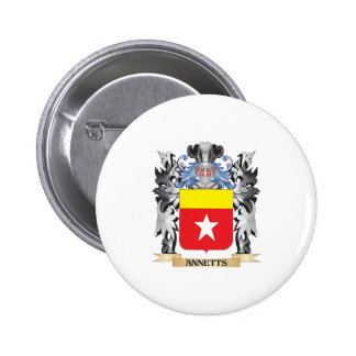 Annetts Coat of Arms - Family Crest 2 Inch Round Button
