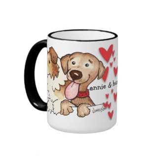 Annie and Hunter Watercolor Ringer Coffee Mug