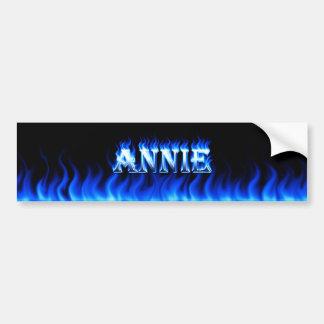 Annie blue fire and flames bumper sticker design.