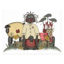 Annie Doll Sheep & Crows Postcard