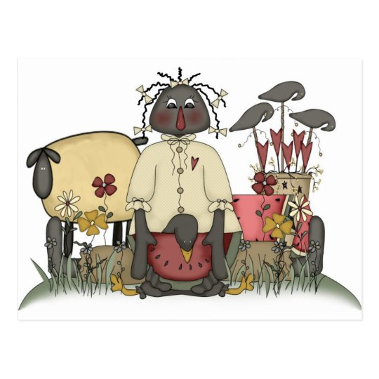 Annie Doll Sheep & Crows Postcard
