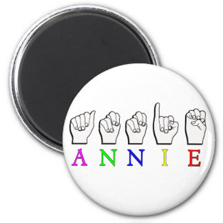 ANNIE  FINGERSPELLED ASL SIGN NAME FEMALE 2 INCH ROUND MAGNET