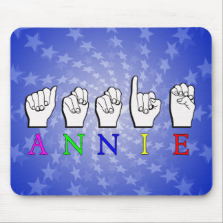 ANNIE  FINGERSPELLED ASL SIGN NAME FEMALE MOUSE PAD