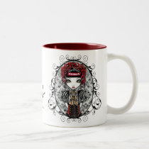 victorian, gothic, annie, red, corset, damask, scroll, fantasy, art, myka, jelina, fairy, faery, faerie, fae, fairies, characters, Mug with custom graphic design