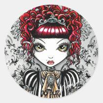 gothic, couture, victorian, red, queen, princess, goddess, myka, jelina, fantasy, annie, art, fine, fae, faery, faerie, watercolor, Sticker with custom graphic design