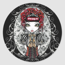 victorian, gothic, annie, red, corset, damask, scroll, fantasy, art, myka, jelina, fairy, faery, faerie, fae, fairies, characters, Sticker with custom graphic design