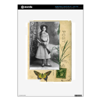 Annie Oakley Vintage Photo Butterfly Cowgirl Decal For iPad 3