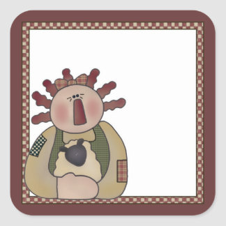 Annie with Sheep Prim Country Themed Sticker