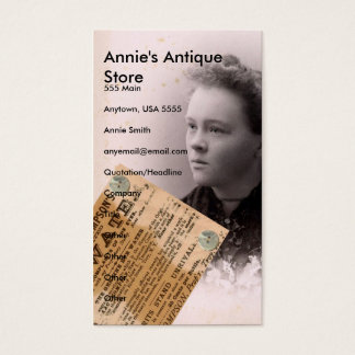 Annie's Antique Store Business Card