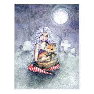 Annie's Fox Gothic Girl Fantasy Art Postcard