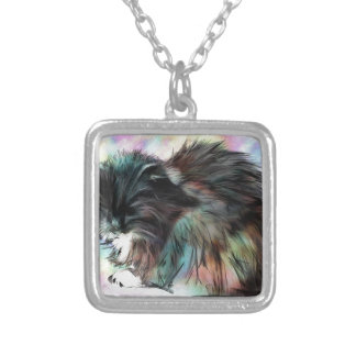 Annies head hangs low silver plated necklace