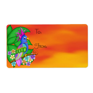 Annika Tropical Bird Gift Tag Labels