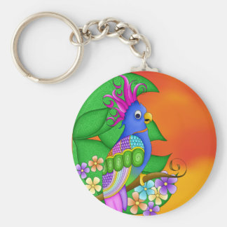 Annika Tropical Bird with Leaves Keychain