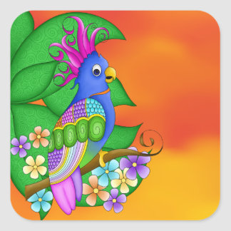 Annika Tropical Bird with Leaves Stickers