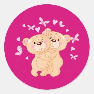 Annimated Valentine's Day Teddy Bears Classic Round Sticker