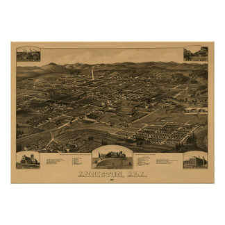 Anniston, AL 1887 Panoramic Map Birds Eye View Poster