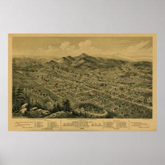 Anniston, AL 1888 Panoramic Map Birds Eye View Print