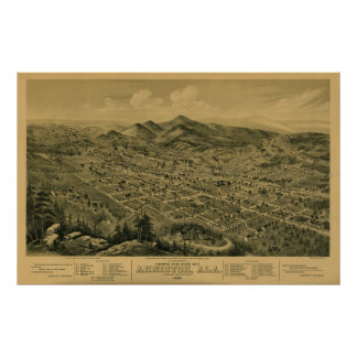 Anniston, AL 1888 Panoramic Map Birds Eye View Poster