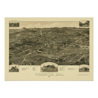 Anniston, AL Panoramic Map - 1887 Poster