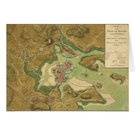 Anniv of Paul Revere's Ride. Boston in 1776.jpg Greeting Card
