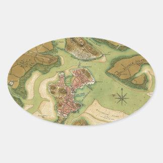 Anniv of Paul Revere's Ride. Boston in 1776.jpg Oval Sticker