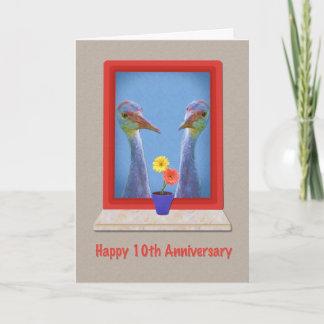 Anniversary, 10th, Crane Birds Card
