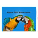 Anniversary, 10th, Loving Parrots Greeting Card