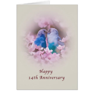Anniversary, 14th, Loving Parakeets, Pink Flowers Greeting Card