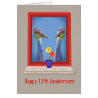 Anniversary, 15th, Two Sandhill Cranes Card