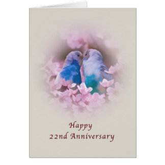 Anniversary, 22nd, Loving Parakeets, Pink Flowers Greeting Card