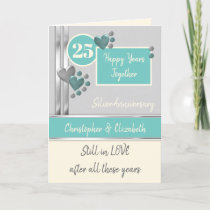 Anniversary 25th Silver 25 years turquoise cream Card