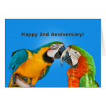 Anniversary, 2nd, Loving Parrots Greeting Card