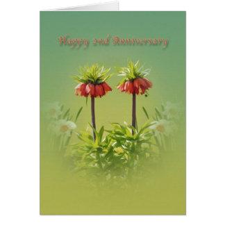 Anniversary, 2nd, Red Rubra Tulips Greeting Card