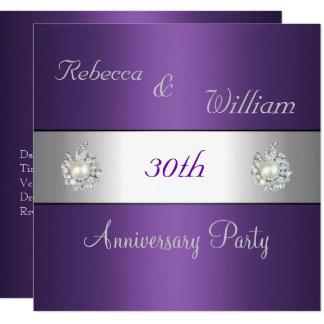 Anniversary 30th Elegant Purple & Pearl Jewel Invitation