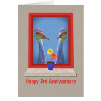 Anniversary, 3rd, Crane Birds Card