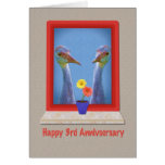 Anniversary, 3rd, Crane Birds Greeting Card