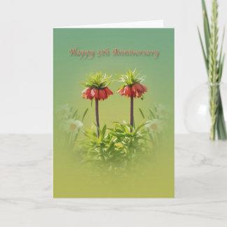 Anniversary, 5th, Red Rubra Tulips Card