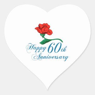 ANNIVERSARY 60TH HEART STICKER