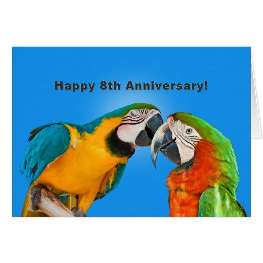 Anniversary, 8th, Loving Parrots Card