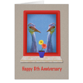 Anniversary, 8th,  Two Sandhill Cranes Card